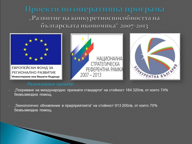 """Development to the competitiveness of the Bulgarian economy "" 2007-2013."